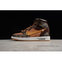 P36 Highest Process-Air Jordan1 X Lv Limited Collaboration Gift Boxes FULL GRAIN LEATHER AQ0818-158 Men Shoes Super Deals