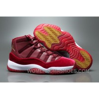 "2017 Air Jordan 11 GS Velvet ""Heiress"" Night Maroon/Metallic Gold-Night Maroon For Sale ZjjQK"