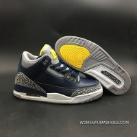 Men Air Jordan 3 Dark Blue Yellow Copuon