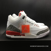 More New Edition Version Jordan Air 3 Katrina Grey Hair Color White Cement Red FULL GRAIN LEATHER SKU Size8-14 136064-116 New Style