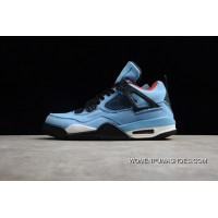 308497-406 Aj4 Blue Suede Collaboration Air Jordan Four 4 X Travis Scott Cactus Men Shoes Super Deals