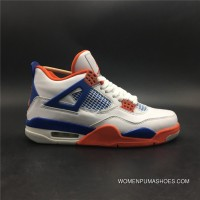 Jordan 4 Air 4Retro White Blue The Orange SKU 308497-171 Full Grain Leather Size 7-13 Top Deals