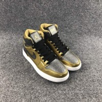 Air Jordan 1 High GS BHM Black Gold Women For Sale