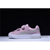 Puma Suede 2 Strap Kids Shoes Velcro Sport All-match Sneakers Suede Pink White 356274-23 New Style