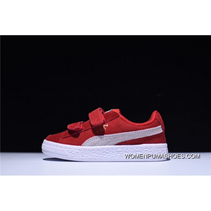 best loved 4b203 b9b4b Puma Suede 2 Strap Kids Shoes Velcro Sport All-match Sneakers Suede Red  White 356274-03 New Style