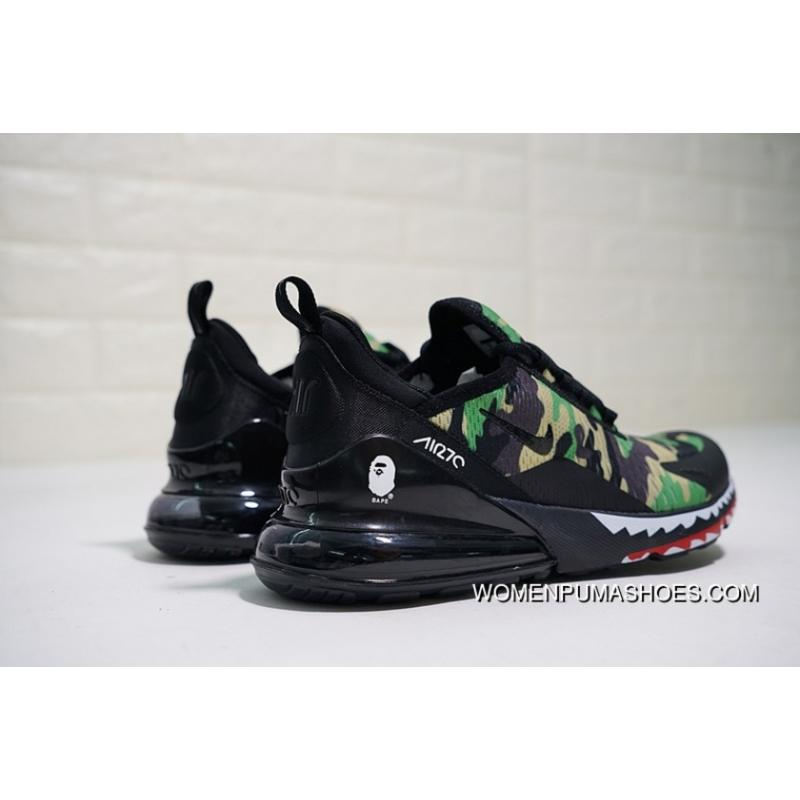 Creative Customized Japanese Camo Bape A Bathing APE X Nike Air Max 270 Series Heel Half palm As Jogging Shoes Shark Green Camo AH6799 003 Free