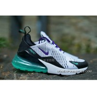 Nike Air Max 270 Series Heel Half-palm As Jogging Shoes White Black Purple Grapes Green AH6789-103 Online