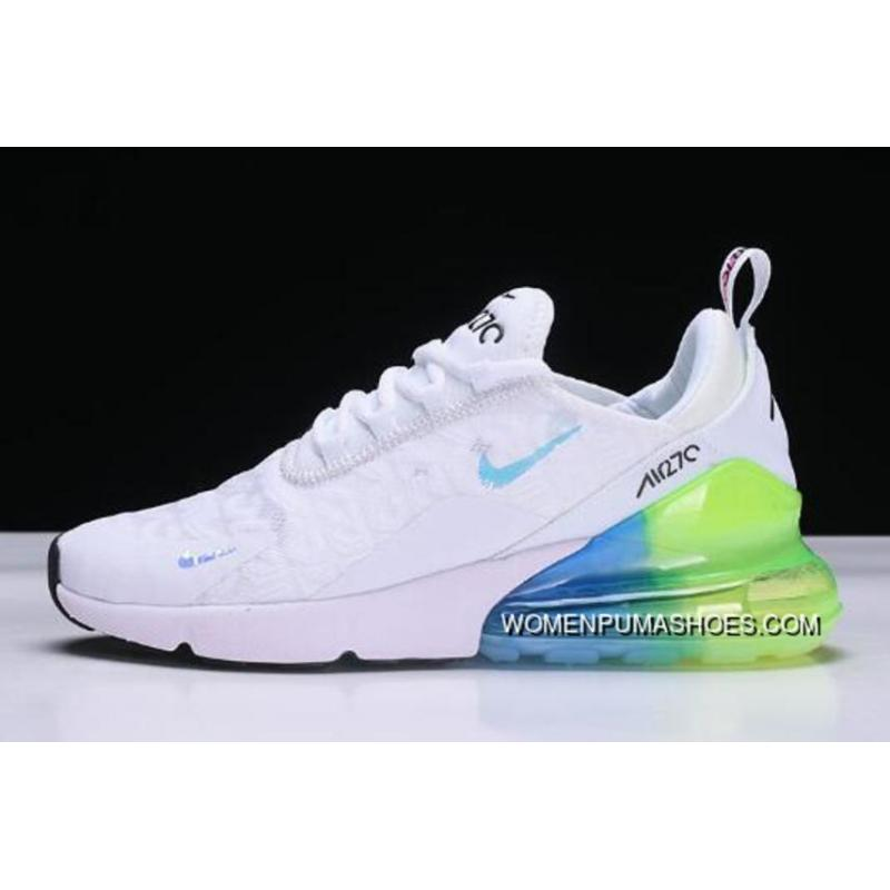 Mens And Wmns Nike Air Max 270 WhiteBlue Green Running Shoes Ah6789 130 Free Shipping
