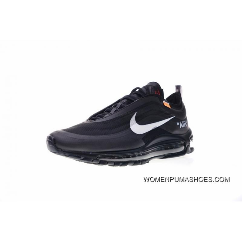 Virgil Abloh Designer Independent Brand Super Limited OFFWHITE NIKE Air Max 97 Retro X Zoom Jogging Shoes Through Net WHITE Black AJ4585100 For Sale