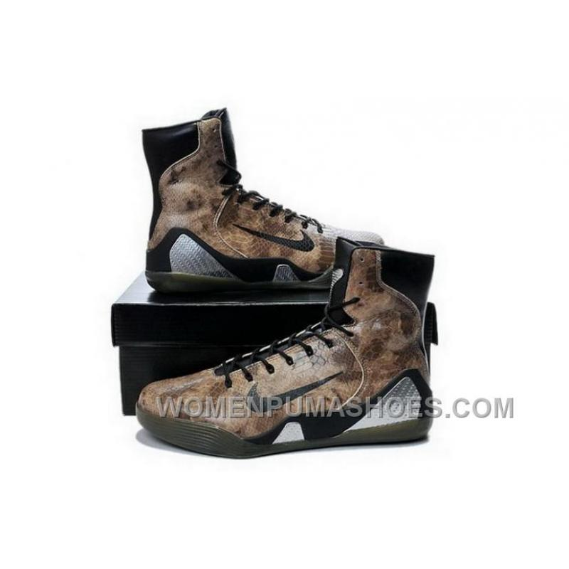 Buy Cheap Nike Kobe 9 High 2015 Snakeskin Brown Black Mens Shoes