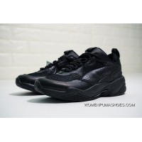 Men Shoes Puma Thunder Spectra Shock Series Retro Torre Breathable Leather Jogging Shoes All Black Snakeskin 367516-01 Free Shipping