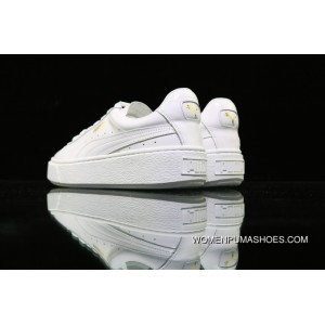 Puma White-Gold Basket Platform Core 365821-01 White New Release