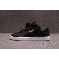 Channel Version PUMA Suede Heart Satin Bow Patent Leather A Silk To Bind II 363073-01 Black Discount