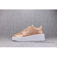WMNS Air Jordan 1 RE LOW LIFTD 1 Gold Women Casual Flatform Shoes AO1334-90117 Super Deals