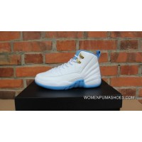 AJ12 North Carolina Blue Mark Exclusive Women Air Jordan 12 GS University Blue 510815-127 Copuon