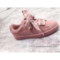 New Year Deals Authentic PUMA Shoes Suede Heart Satin Bow Women Sneakers Pink Red Bean Paste II 364084-03
