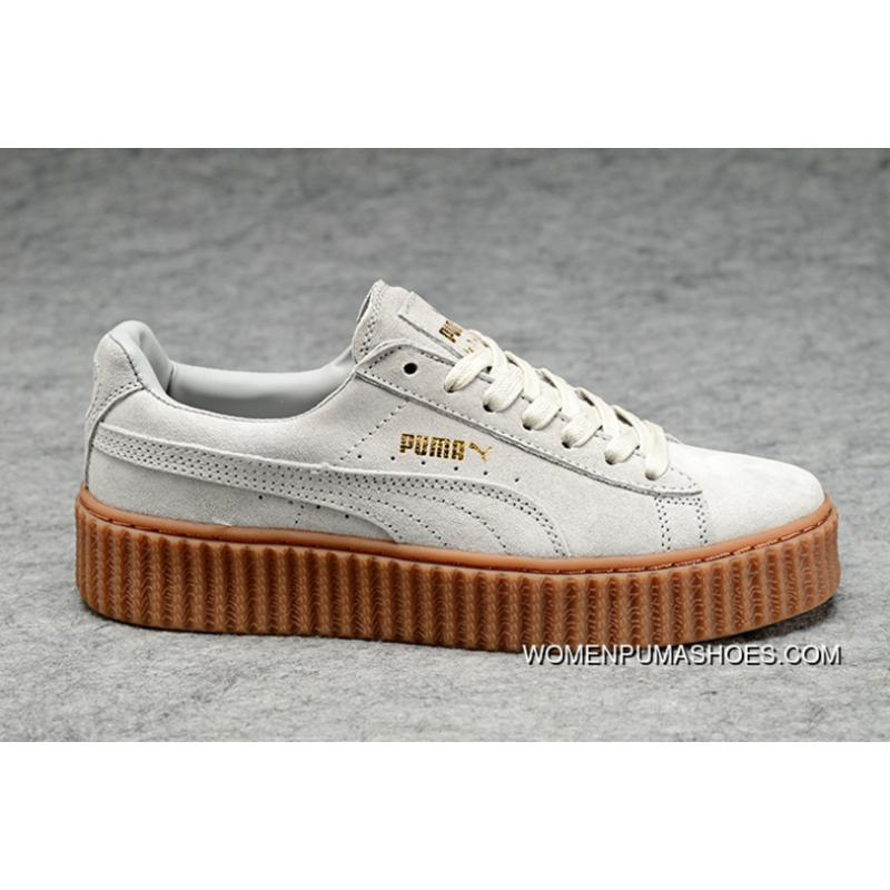 best sneakers 90665 26aa5 Copuon Puma X Rihanna Rap Women King Rihanna WMNS Creeper Collaboration  Shoes With White Brown Raw Rubber Flatform Shoes Platform Shoes Beige White