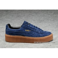 Puma X Rihanna Rap Women King Rihanna WMNS Creeper Collaboration Shoes With Dark Blue Brown Raw Rubber Flatform Shoes Platform Shoes Navy Blue New Year Deals