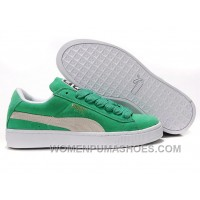 Women's Puma Suede Green-White Cheap To Buy Mspym