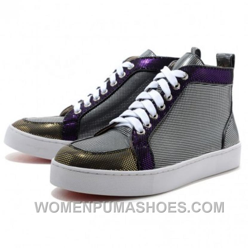 Christian Louboutin Mans Canvas Sneakers Gray-Purple Online N5Qnb