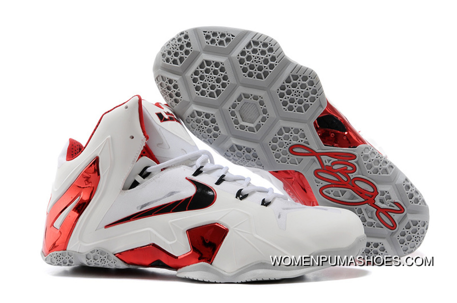 04f783bf9d3779 Nike LeBron 11 Elite Home PE White-Red Wolf Grey Outlet