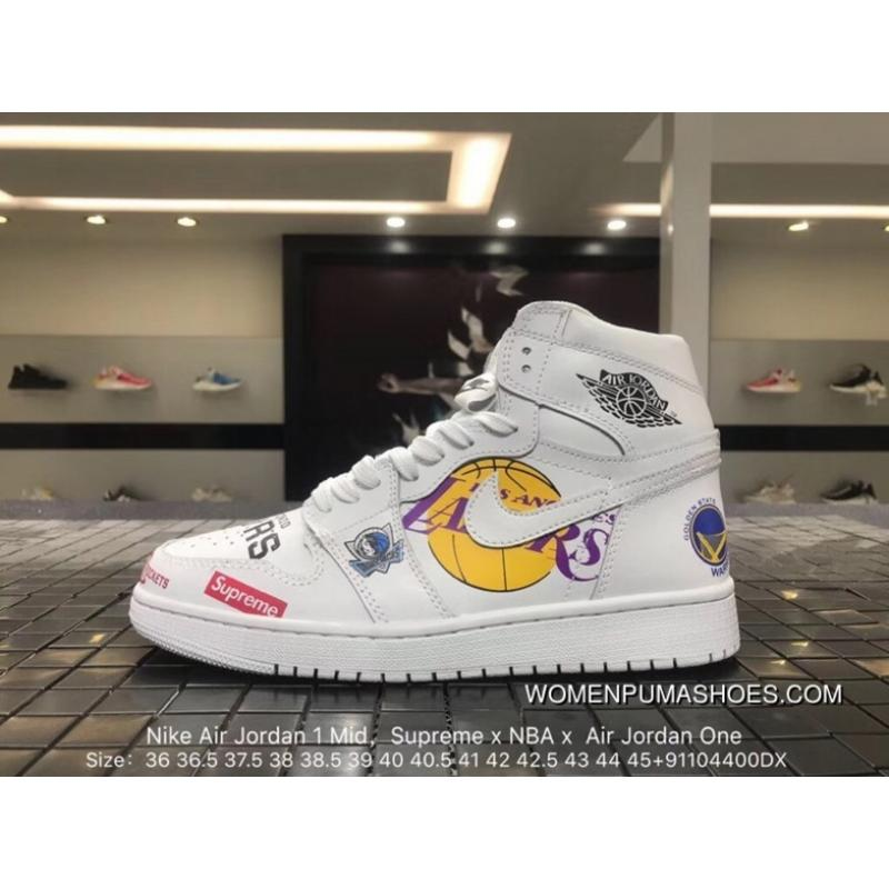 the latest 23424 83422 Nike Air Jordan 1 Mid Supreme X NBA X One Collaboration Mid Top Sneakers  555088-100 Full Grain Leather Soft Leather Double Standard Design For The  ...