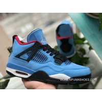Pure Aj4 Blue Suede Air Jordan 4 X Travis Scott Aj4 Blue Suede Collaboration 308497-406 Size Free Shipping