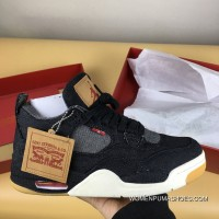 Air Jordan 4 Black Levis Denim Collaboration Levis X 4 Whiteao2571-100Levis X 4 Black New Style
