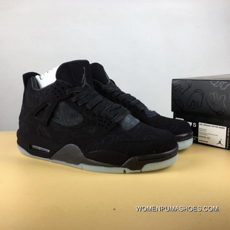 quality design 73cdf b27fc Aj4 Graffiti Black Suede Kaws X Air Jordan 4 Discount