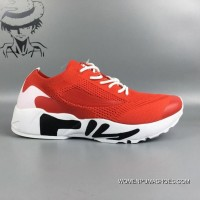 Fila FLYKNIT Breathable Running Shoes Red White Discount