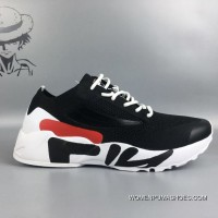 Fila FLYKNIT Breathable Running Shoes Black And White Top Deals