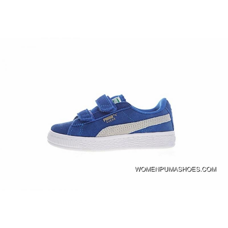 the best attitude b781b 8c8a5 Best Monopoly Puma Baby Little Kids Shoes Suede 2 Strap Kids Shoes Velcro  Sport All-match Sneakers Treasure Blue White 356274-02