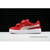 PUMA Suede 2 Straps Inf Little Kids Shoes Casual Sneaker 356274-039 Red Top Deals