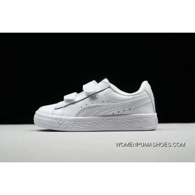 wholesale dealer b3178 e6e04 PUMA Suede 2 Straps Inf Little Kids Shoes Casual Sneaker 364653-019 All  White New Year Deals
