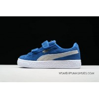 New Style PUMA Suede 2 Straps Inf Little Kids Shoes Casual Sneaker 356274-029 Blue