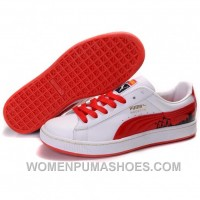 Puma Suede Fat Lace In White-Varsity Red Super Deals AjGmS