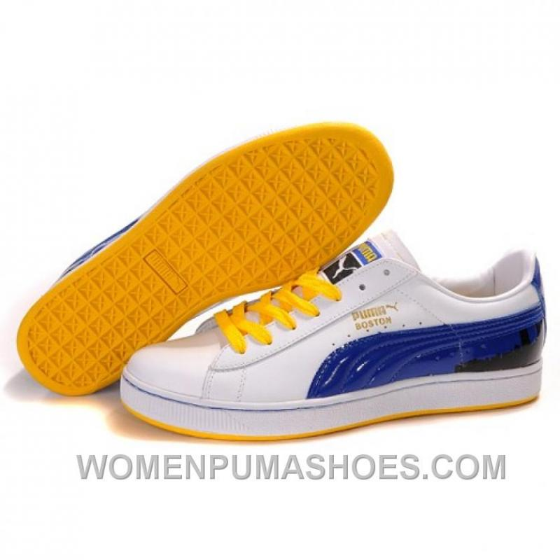 buy popular 55713 c4071 Puma Suede Fat Lace In White-Blue-Yellow Discount D2hGr
