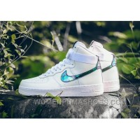NIKE AIR FORCE 1 HI LV8 IRIDESCENT 806403-100 White Green Gold Christmas Deals