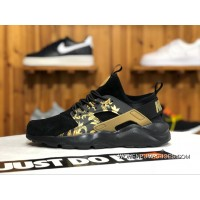 Nike Air Huarache 4 829669-661 Women Men Pig Leather Black Gold Flower Print Discount