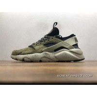 Nike Air Huarache Pig Leather Material Running Shoes Black Green829669-333 For Sale