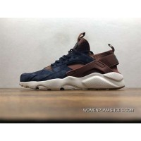 Nike Air Huarache Pig Leather Material Running Shoes Blue Brown 829669-668 For Sale