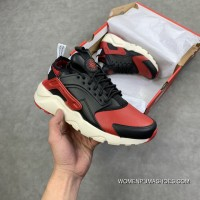 Nike Air Huarache Run Premium New Colorways Black Red Full Grain Leather 4 Retro Jogging Shoes 875842-006 Latest