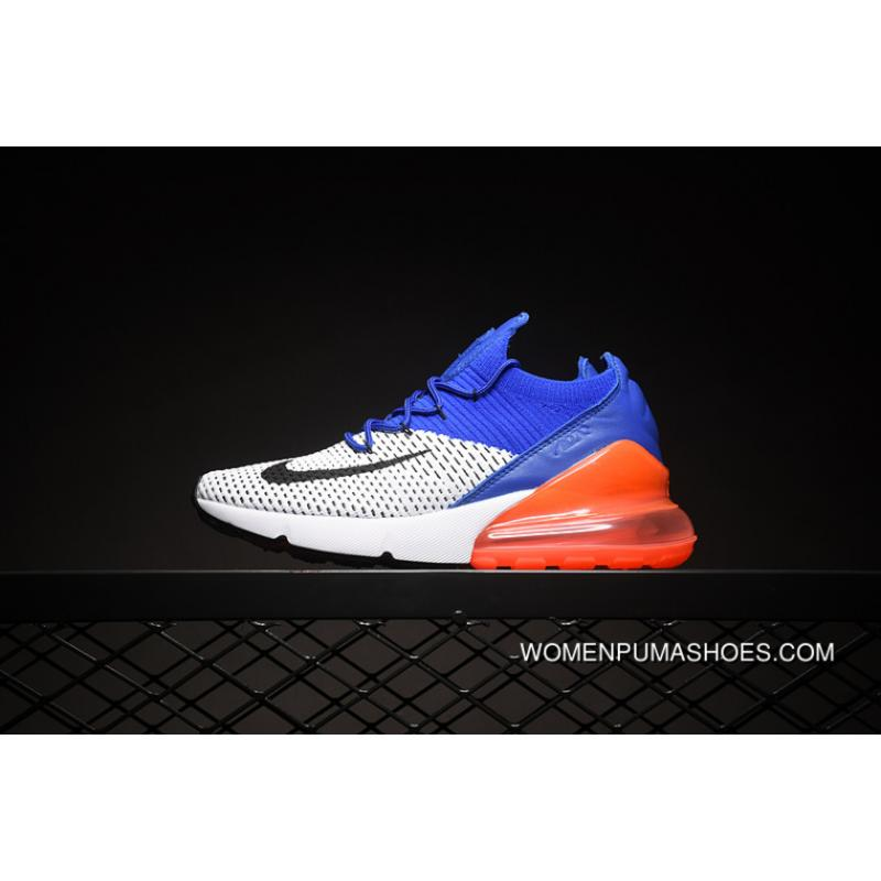 check out d7c98 da473 High Quality NIKE AIR MAX 270 FLYKNIT 1-1 Half-palm As Running Shoes Women  Shoes And Men Shoes SKU AO1023-101 White Orange Blue Size 24 Best
