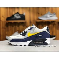 170Nike Air Max90 White Blue Yellow Shoes Sport Shoes Zoom Mesh Breathable Running Shoes Aj1285-101 Size Online