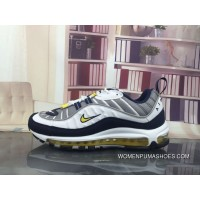 Nike Air Max 98 Tour Yellow 640744-105 Running Shoes White/Tour Yellow-Midnight Navy-Cement Grey Free Shipping