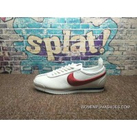 All Full Grain Leather Super Soft Napa Leather Nike Cortez 72 Cortez Series Retro All-Match Jogging Shoes White Blue Red Electronic Embroidery Hook 881205-106 Top Deals