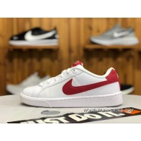 online store 09344 5ea61 Nike Court Royale White Red Leather Low Sneakers 844802-103 Women And Men  Super Deals