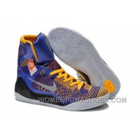 Buy Cheap Nike Kobe 9 2014 High Tops Blue Yellow Black Mens Shoes For Sale 83HpA