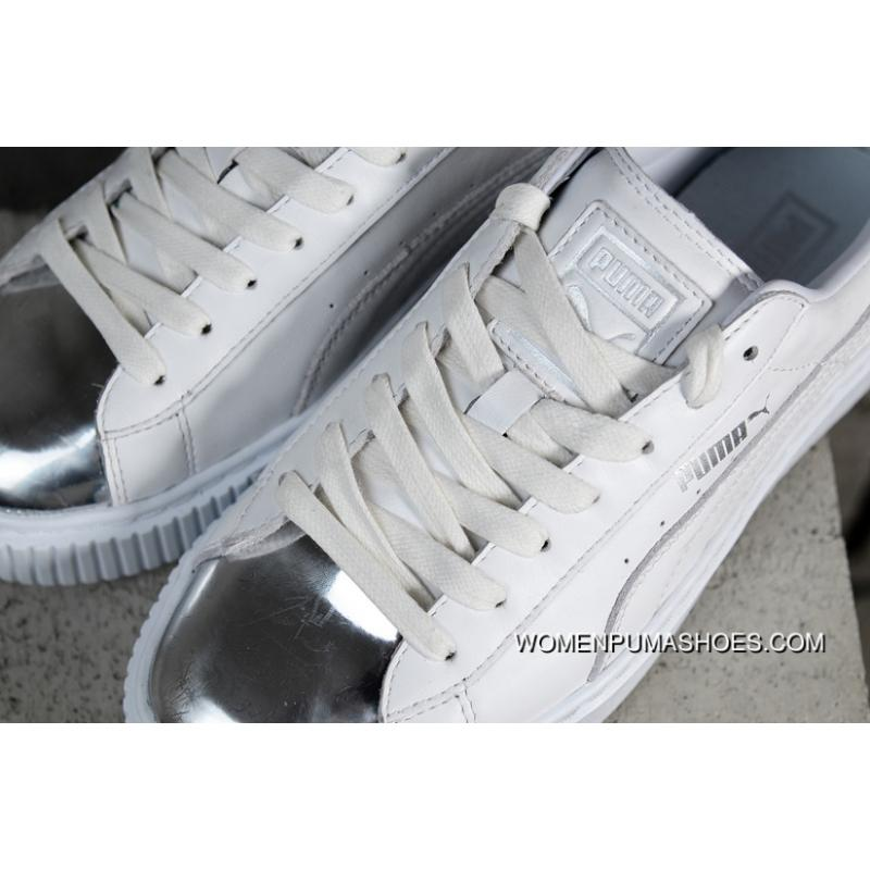 sports shoes 8c38b 28e43 Authentic Puma Basket Platform Rihanna 2.0 Simplified Silver Head White  366169-01 Outlet
