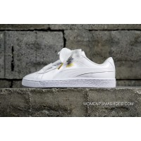 Authentic Puma Basket Silk Bind Bow Women God Shoes 363073-02 White Outlet